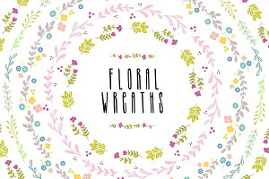 Floral vector AI wreaths and brushes