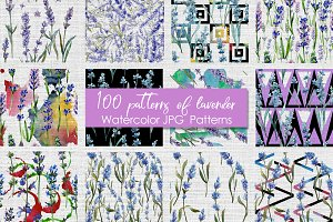 100 patterns of lavender flower JPG