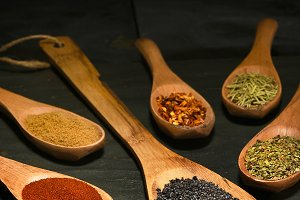 Herbs and Spices Wood Spoons