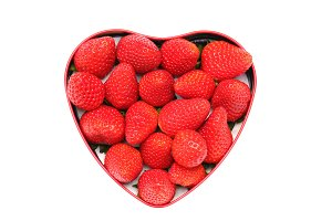 Heart Shaped tin full of Strawberies