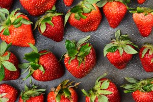Strawberries on Metal Pan with Water