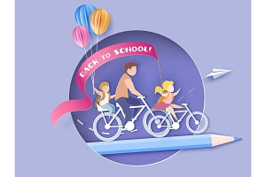 Back to school. Children bicycling