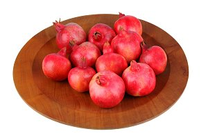 Pomegranates on Wood Platter