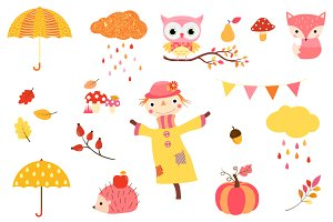 Cute autumn clipart - Thanksgiving
