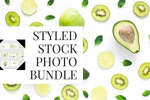 10 green fruits stock photo bundle