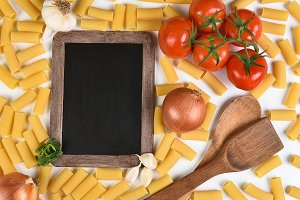 Chalkboard and Italian Meal
