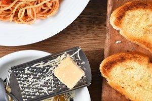 Parmesan Cheese Spaghetti Garlic Bre