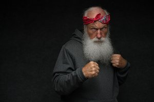 old gangster man with a beard