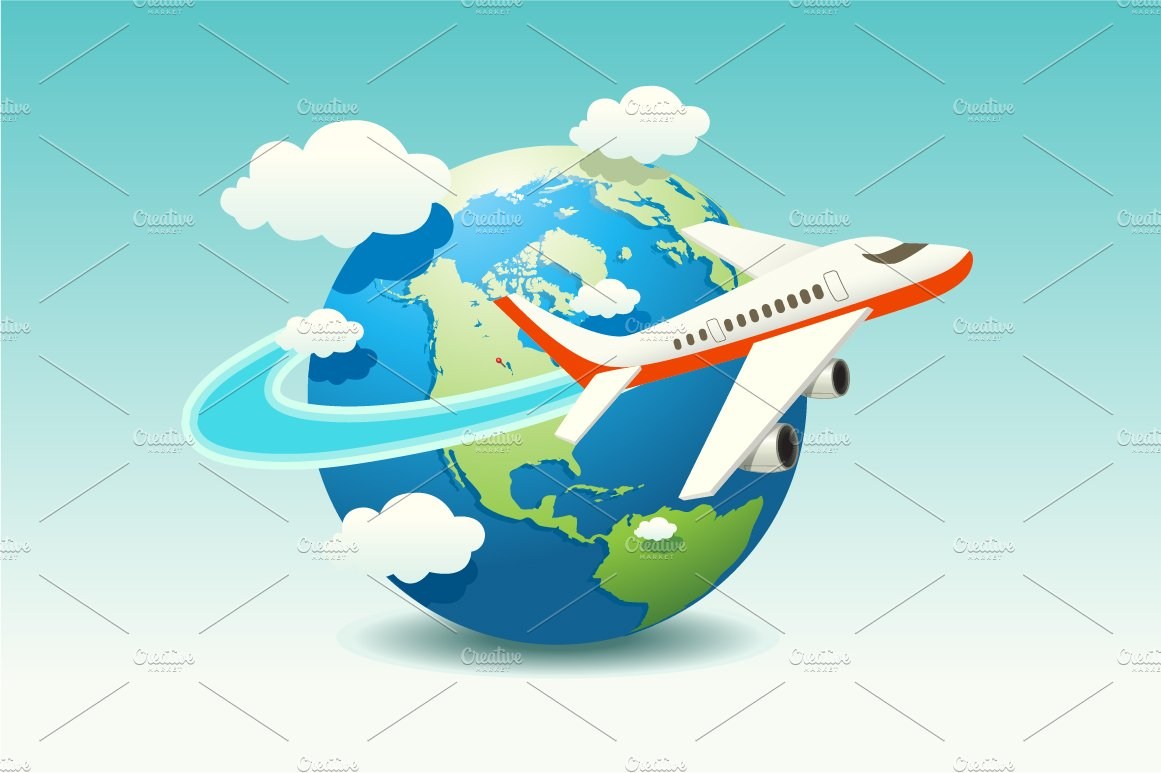airplane travel illustrations creative market
