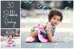30 Soap Bubbles PS Overlays - PNG