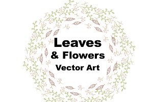 Leaves and Flowers Vector Clip Art