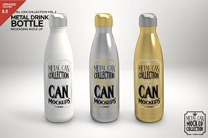 Metal Drink Bottle Mockup