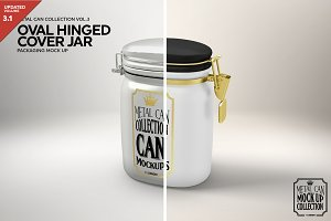 Oval Tin Jar with Clip Cover Mockup