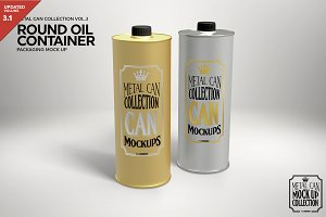 Round Oil Container Mockup