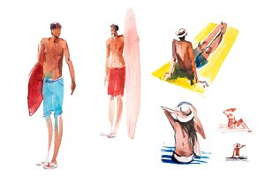People on the beach Summer surfing