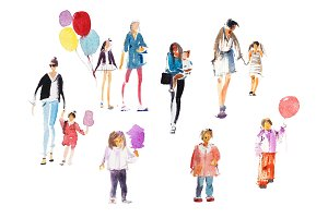 Parents and children walking summer
