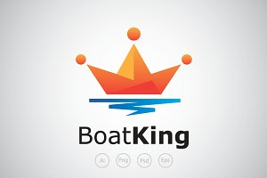 Boat King on The Sea Logo Template