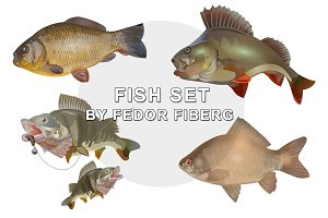 Species of Fishes vector set