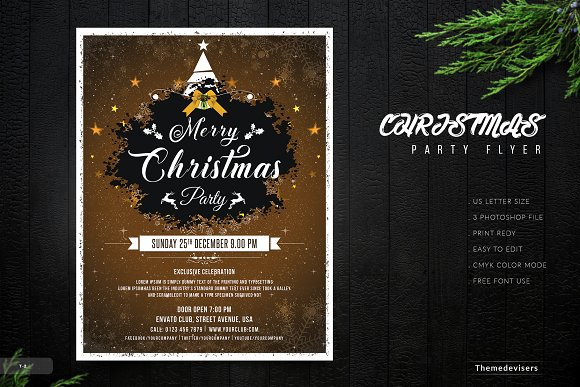 christmas party flyer template flyer templates creative market