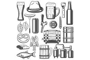 Beer brewing and snacks vector icons