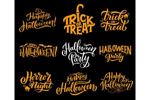 Halloween greeting vector lettering