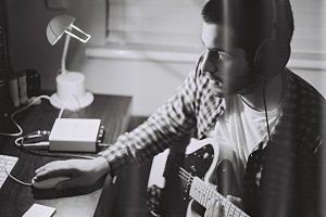 Hipster Film Photo - playing Guitar