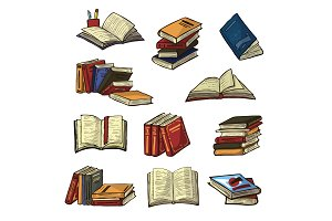 Books vector stack of textbooks and