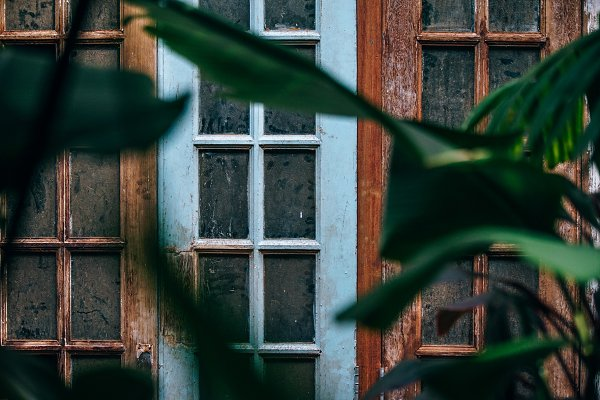 Architecture Stock Photos: Inspirationfeed - Blue Wooden Window See Through