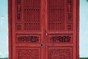 Hand Carved Wooden Door Facade
