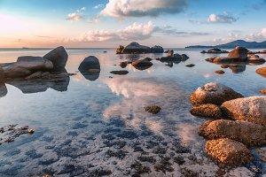 Sunset on tropical beach