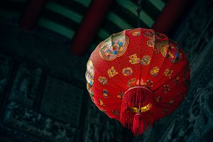 Oriental Chinese Lamp at a Temple