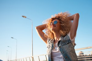 Beautiful girl with lush hair
