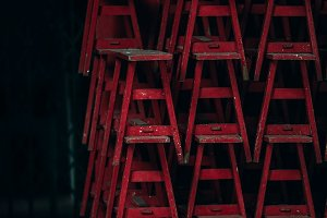 Stacked Red Stool at The Temple