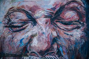 Street Art of a Big Aged Face