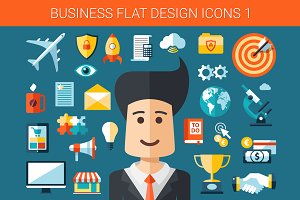 Business Flat Design Icons Set