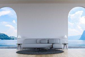 Modern loft living room sea view 3d