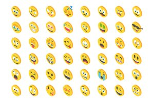 80 Cute Emoji Isometric Icons
