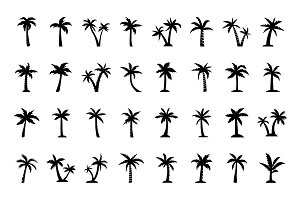 96 Palm Tree Vector Icons