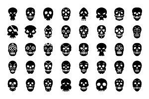 64 Skull Tattoo Vector Icons