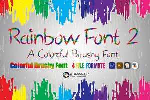 Colorful Brushy Font Rainbow Font 2