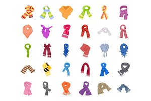 55 Scarves and Shawls Flat Icons