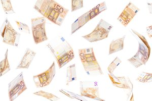 Fifty euro notes flying