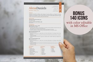 Orange 3 in 1 ribbon modern resume
