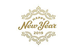 New Year 2019 lettering cards