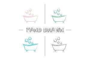 Baby bathtub hand drawn icons set