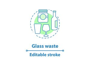 Glass waste concept icon