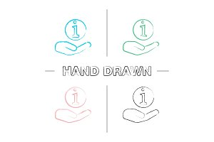 Hand holding info sign icons set