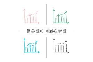 Statistics hand drawn icons set