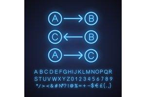 Logic maths neon light icon