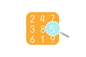 Number theory glyph color icon